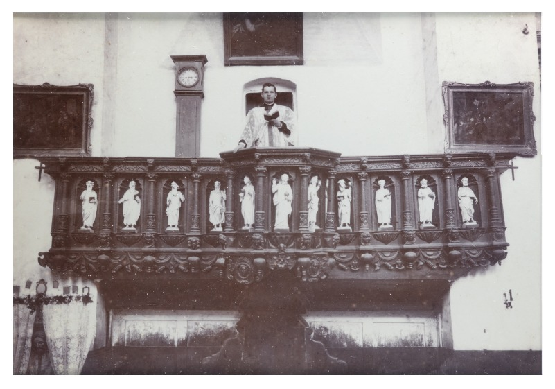 A priest in the pulpit at the Catholic church of Kretinga, before 1908