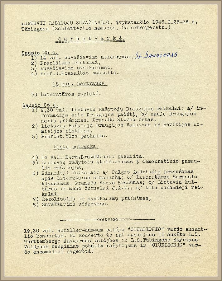 The agenda of the first LRA's Congress held on January 25-26, 1946.