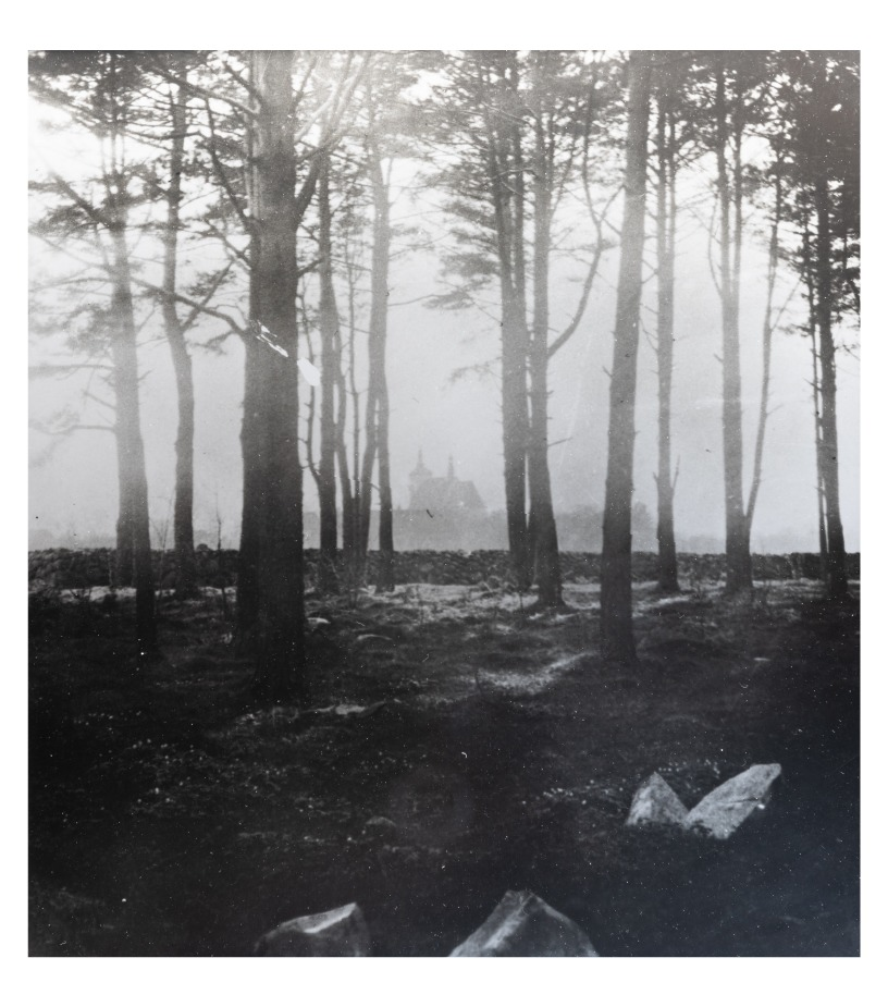 An area behind the park of Kretinga Manor Homestead which was situated between Kretinga Manor Homestead and the monastery's land. The silhouette of Lord's Revelation to Virgin Mary Church of Kretinga is seen in the distance. (copy). P. Mongirdaitė's album Kretynga, p. 29, 1890