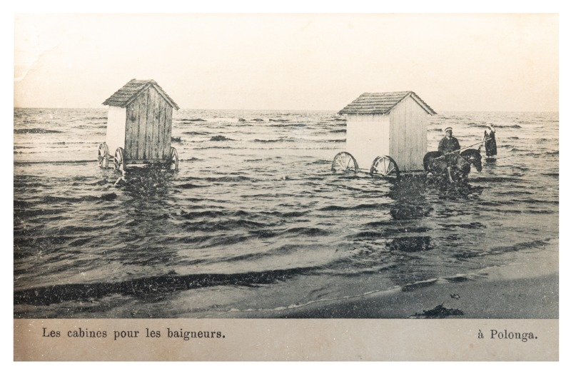 Bathing cabins in Palanga, c. early 20th century