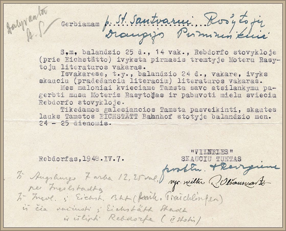 The lithuanian writers association seven decades of history the lithuanian girl scout troops invitation to board chairman santvaras stopboris Images