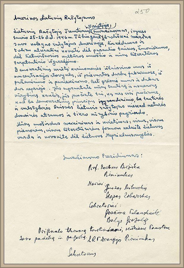 Amerikos lietuviams rašytojams išsiųstas LRTD narių sveikinimas.