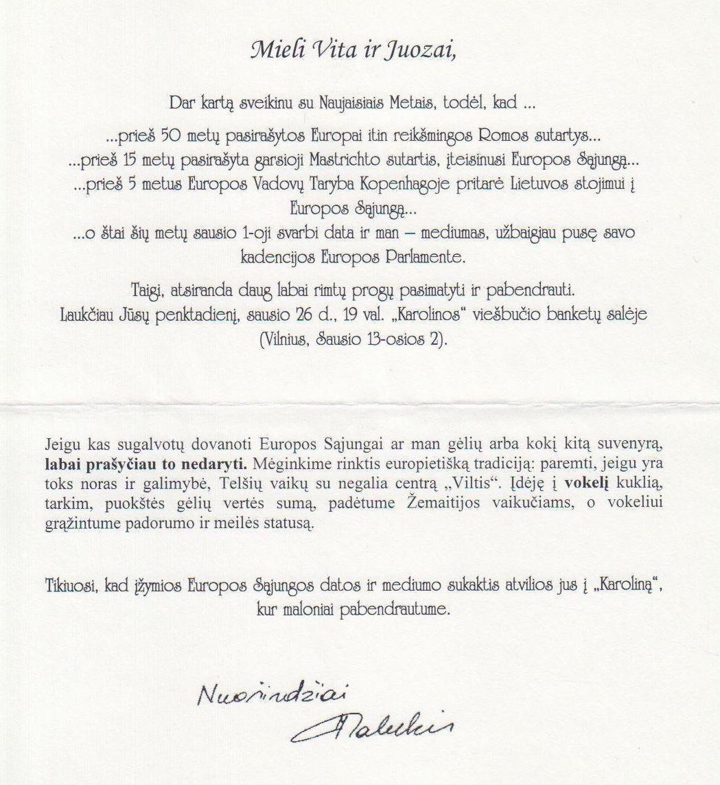 Europarlamentaro Justo Vinco Paleckio sveikinimas Juozui Budraičiui Naujųjų Metų proga. 2007 m.
