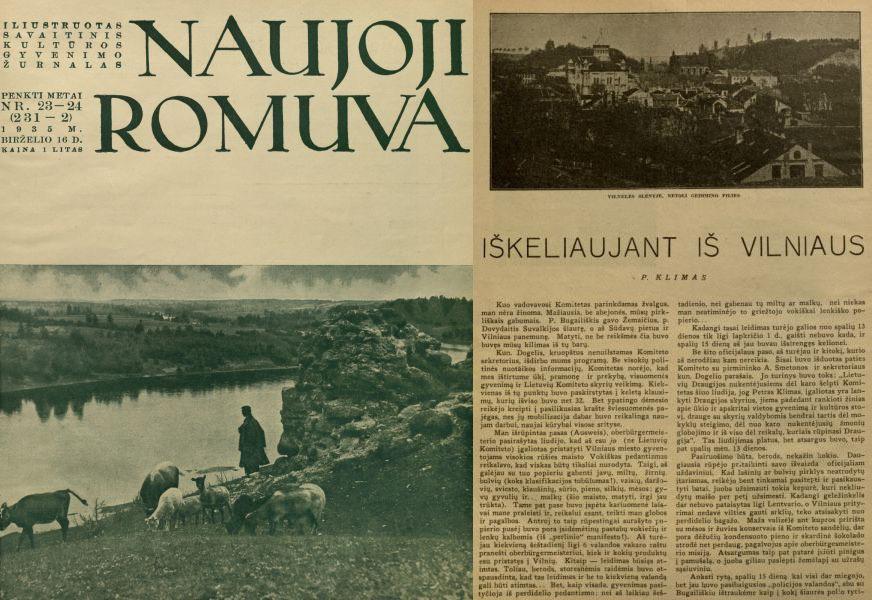 Klimas P. Iškeliaujant iš Vilniaus // Naujoji Romuva. 1935, nr. 23-24, p. 486–489.