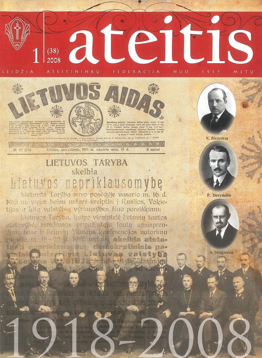 """""""Ateitis"""", 2008 m., Nr. 1. Numeris, skirtas Lietuvos valstybingumo atkūrimo 90-mečiui. Viršelyje pavaizduoti Vasario 16-osios aktą pasirašę ateitininkai."""