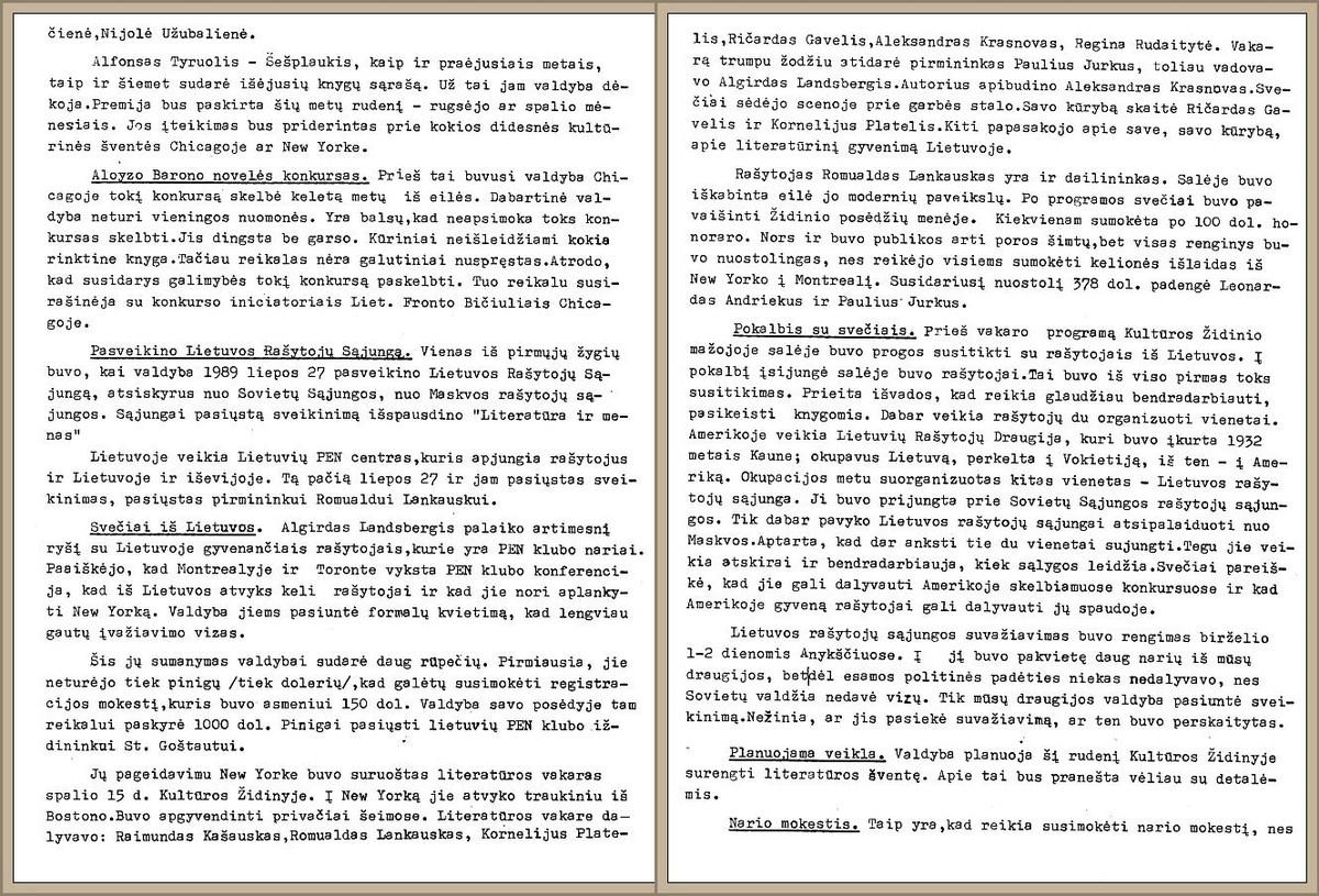 LRD valdybos aplinkraščio ištraukos apie rašytojų iš Lietuvos viešnagę Niujorke, 1990 m. rugpjūčio 15 d.