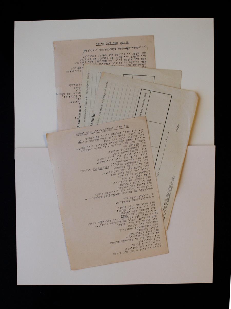 Suckeverio poezijos mašinraščiai ant švarių prieškario blankų pusių