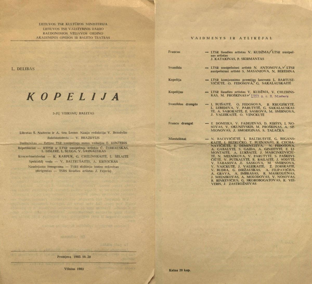 Kopelija : Léo Delibes. 3 veiksmų baletas. [Programa]. 1983.10.28.<br />
