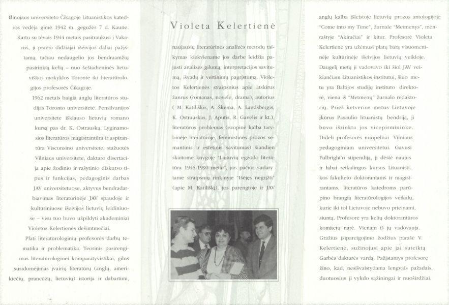Violeta Kelertienė: Vilniaus pedagoginio universiteto Garbės daktarė: lankstinys.