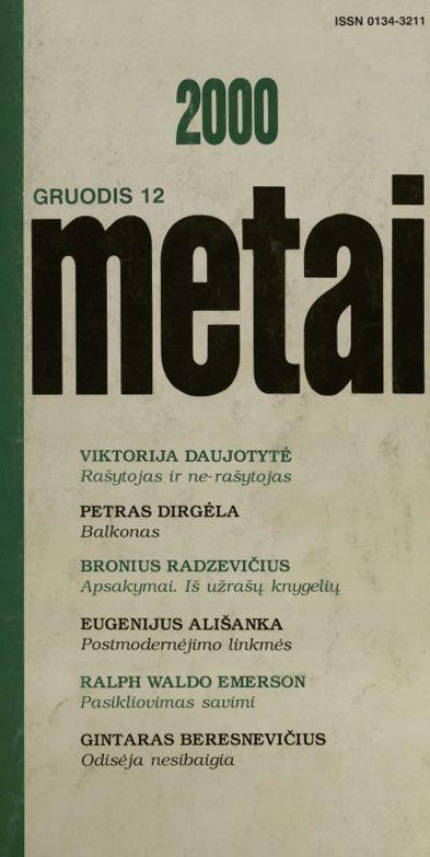 Radzevičius B. Melodija; Sūkuryje; Dvi pažintys su savimi; Įnamis: apsakymai / [su J. Apučio prier.] // Metai. 2000, nr. 12, p. 56–67.