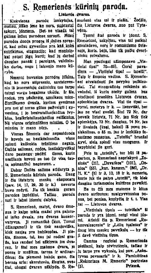 Prizmė, S. Remerienės  kūrinių paroda // Lietuvos žinios. 1928-02-07, p. 3.