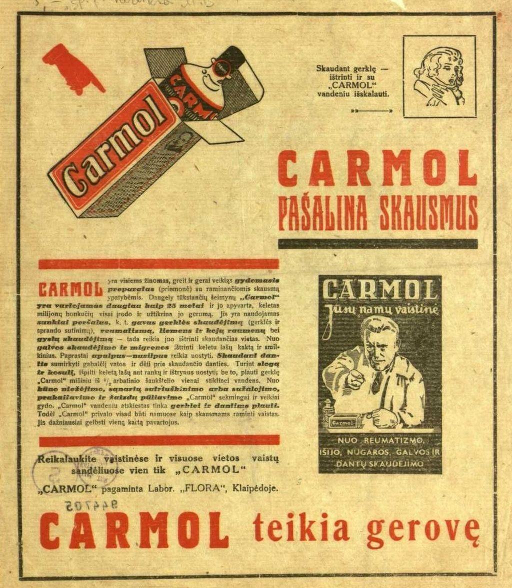 """""""Carmol pašalina skausmus: Carmol yra visiems žinomas, greit ir gerai veikiąs gydomasis preparatas …"""""""