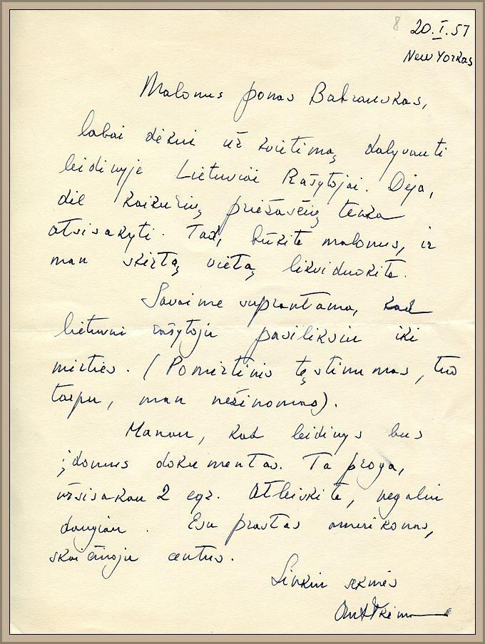 Diplomato, visuomenės veikėjo Antano Trimako atsakymas LRD pirmininkui B. Babrauskui (1957 m. sausio 5 d.).