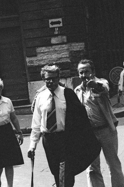 """Kino režisierius V. Žalakevičius ir aktorius D. Banionis """"Kentaurai"""" filmavimo Budapešte metu. 1978 m."""
