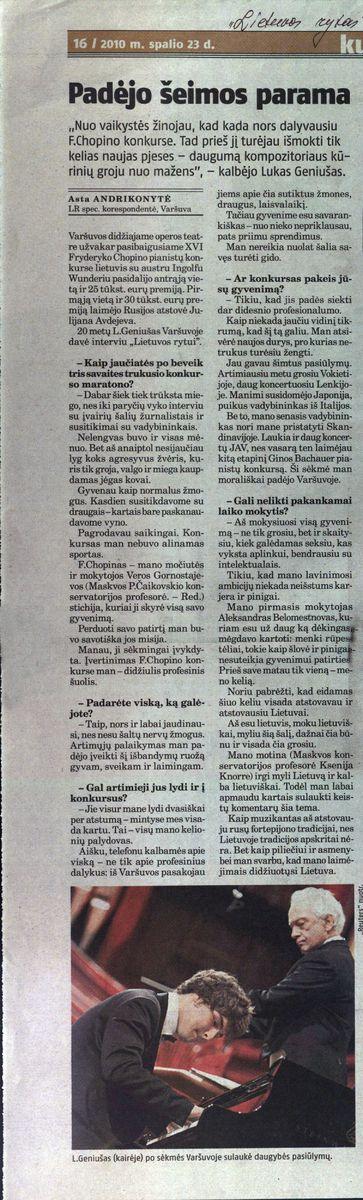 A. Andrikonytė. Padėjo šeimos parama // Lietuvos rytas. - 2010.10.23 p.16