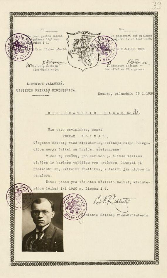 Petro Klimo diplomatinis pasas, Užsienio reikalų ministerijos išduotas 1920 m. balandžio 23 d., jam vykstant į taikos derybas su Sovietų Rusija.