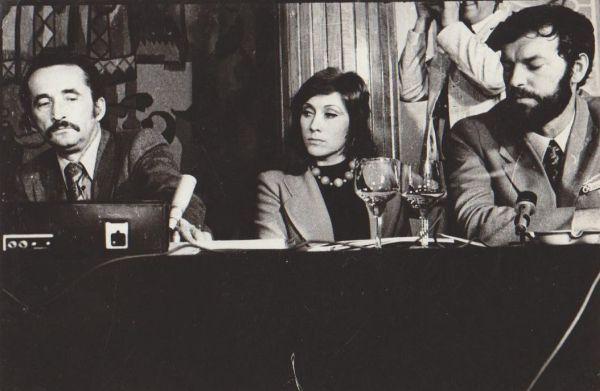 """Spaudos konferencijoje po filmo """"Tas saldus žodis – laisvė!"""" apdovanojimo Maskvos kino festivalyje. 1973 m."""
