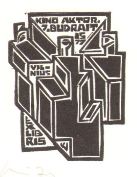 """""""Kino aktorius Juozas Budraitis"""". Ekslibrisas. 1977 m. Dailininkas V. Kisarauskas."""