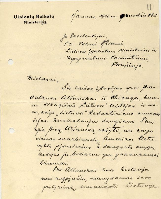 Lietuvos užsienio reikalų ministerijos atsakingo darbuotojo, pasiuntinio JAV K. Balučio laiškas P. Klimui. 1925 m.,  Kaunas.