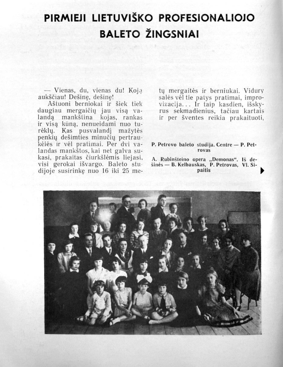 Sipaitis V. Pirmieji lietuviško profesionaliojo baleto žingsniai. // Teatras. - 1975, Nr. 4, p. 12-18