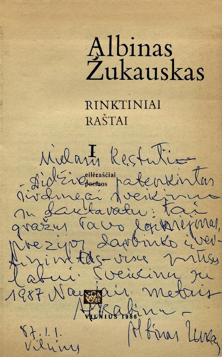 A. Žukausko dedikacija, 1987