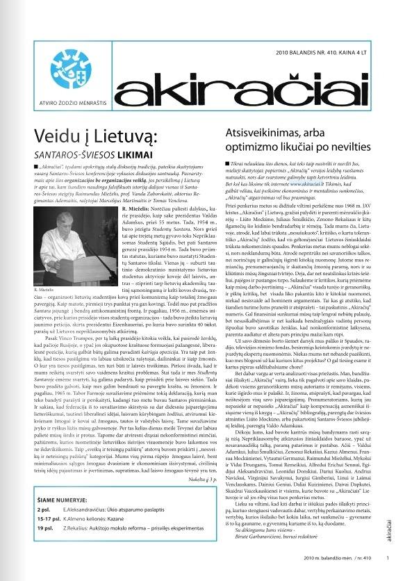 """Paskutinis Lietuvoje leistų """"Akiračių"""" numeris, 2010 m. balandis"""