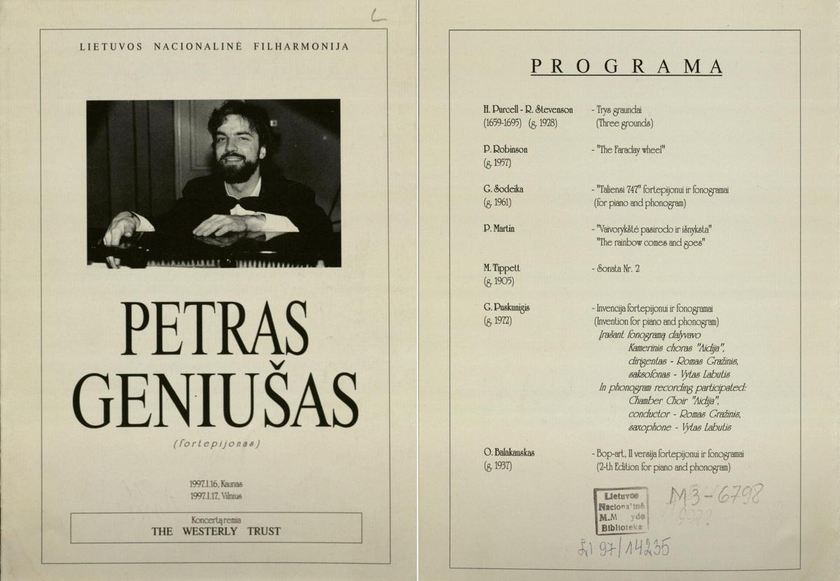 Petras Geniušas : (fortepijonas) : [programa] [1997?] m.