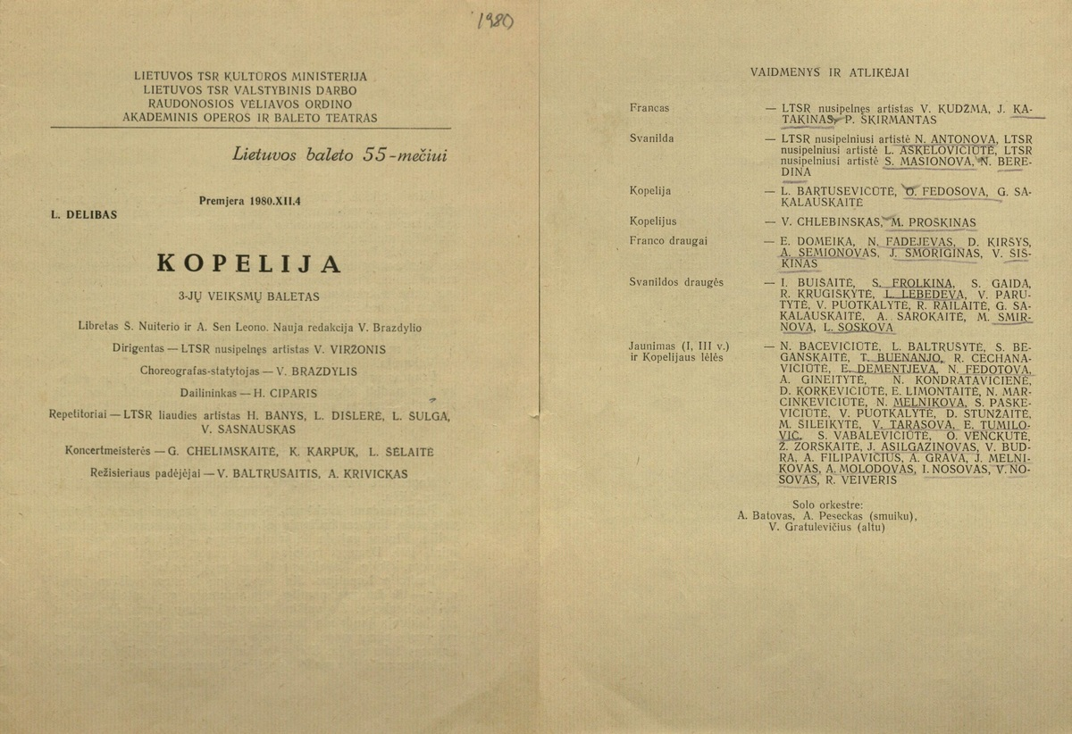 Kopelija : Léo Delibes. 3 veiksmų baletas. [Programa].  1980 XII 4.<br />