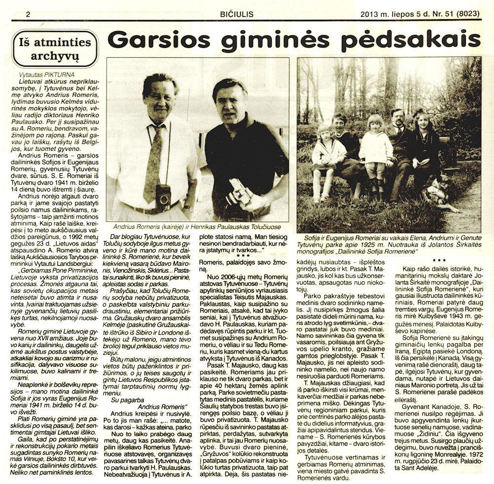 Pikturna, V. Garsios giminės pėdsakais // Bičiulis.  2013, liep. 5, p. 2.