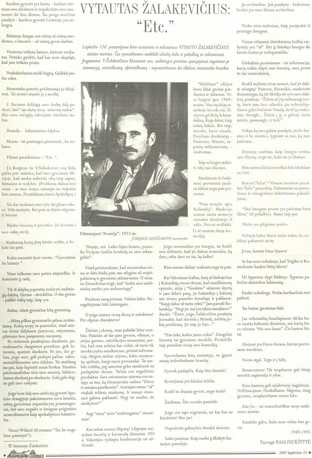 """Vytautas Žalakevičius: """"Etc."""" // Literatūra ir menas. 1997, lapkričio 15."""