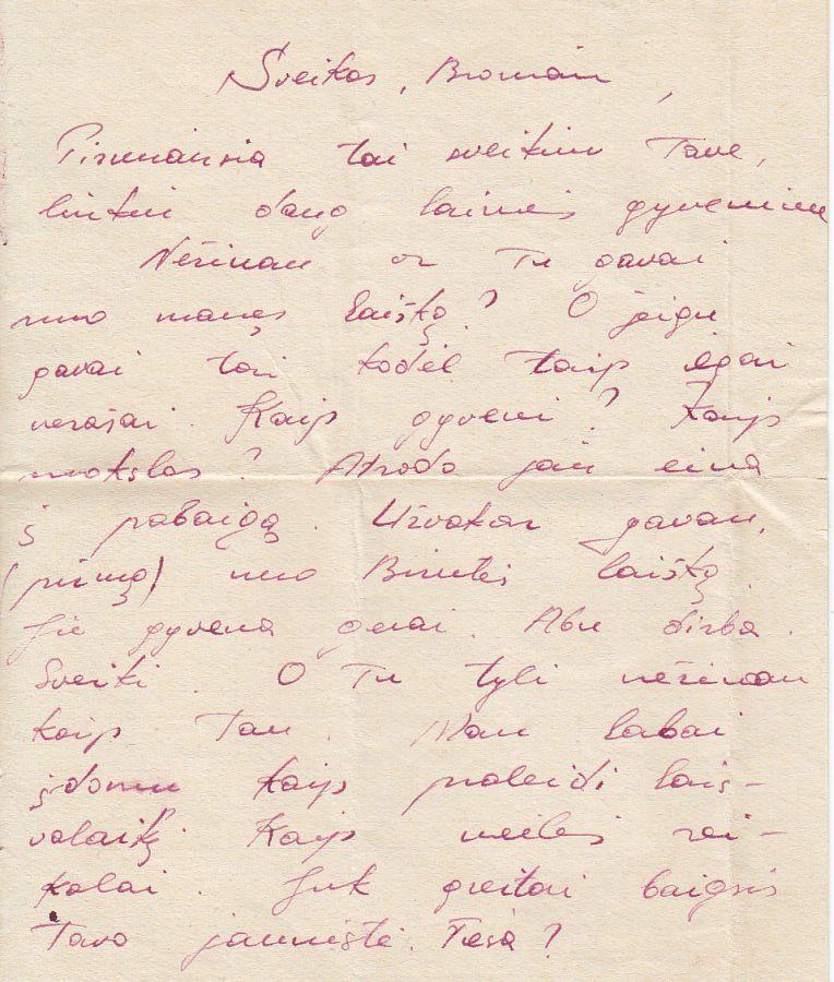 R. Radzevičiaus brolio Sauliaus laiško iš armijos fragmentas. Rankraštis. 1966 m.