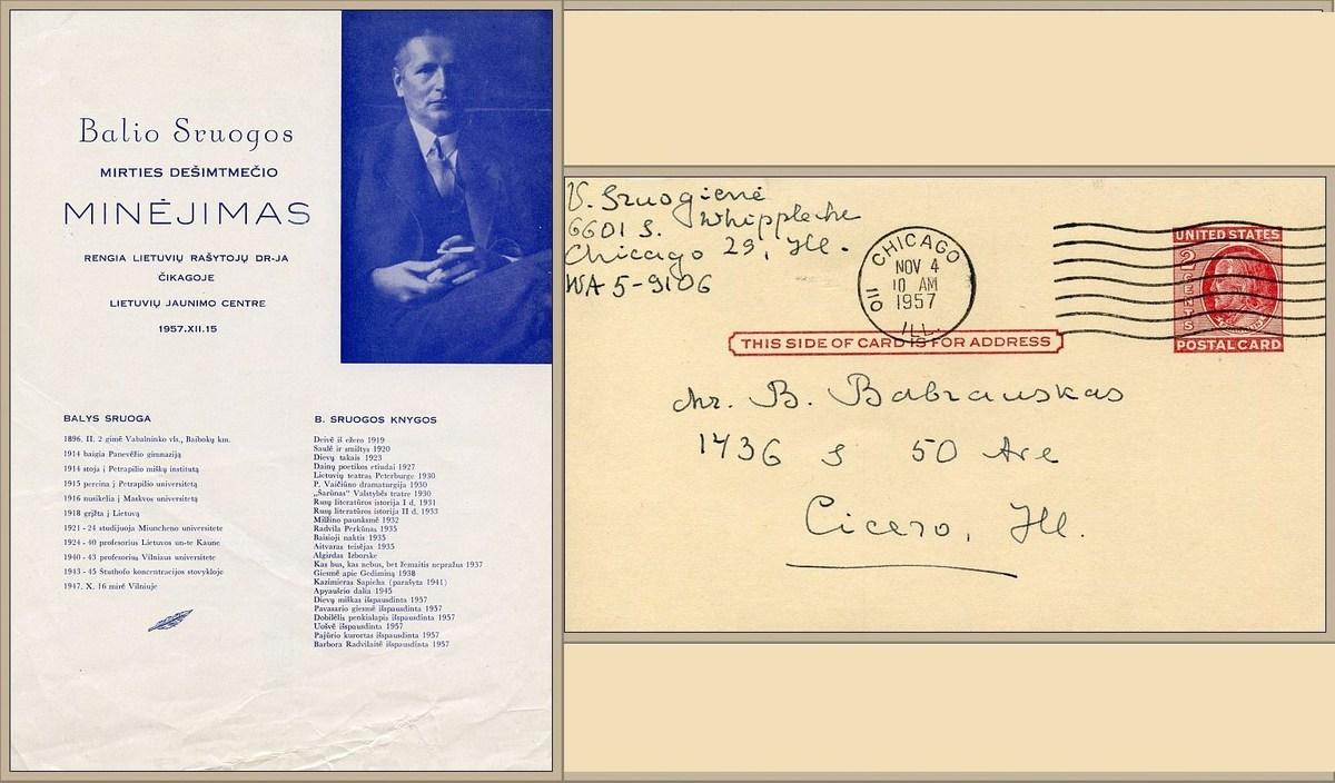 Balio Sruogos mirties 10-mečio programa.<br /> Dr. Vandos Sruogienės ranka užrašytas vokas, adresuotas draugijos pirmininkui B. Babrauskui.<br />