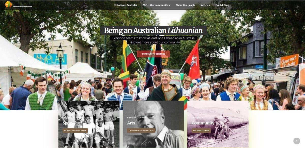 Australijos lietuvių bendruomenės interneto svetainės titulinis puslapis, 2020 m.