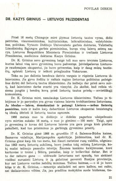 Dirkis P. Dr. Kazys Grinius – Lietuvos prezidentas // Sėja. 1967, nr. 1, p. 21–29.