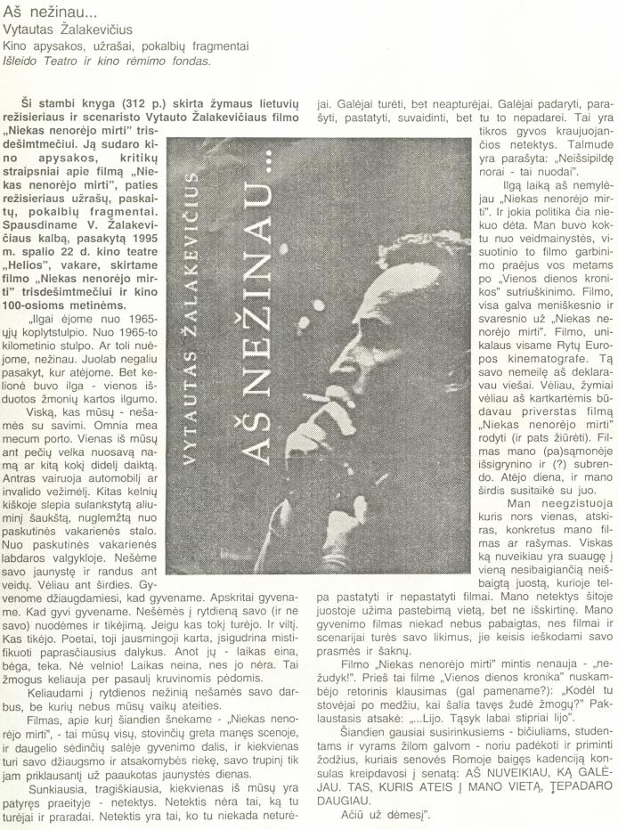 """Žalakevičius V. """"Ilgai ėjome nuo 1965-ųjų koplytstulpio..."""" // Knygnešys. 1997, nr. 7."""