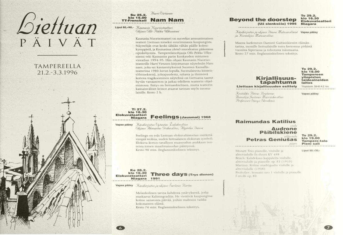 Lietuvos kultūros dienų Tamperėje  (Suomija)  1996 m. dalyvių programa.