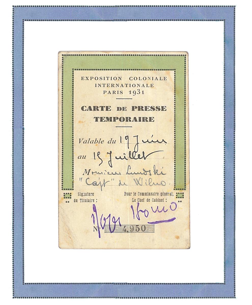 """1931 m. Chaiklas Lunskis buvo Vilniaus laikraščio """"Tsayt"""" (jid. Laikas) komandiruotas į Kolonijinę parodą Paryžiuje. <br /> Jo spaudos atstovo akreditacinė kortelė."""