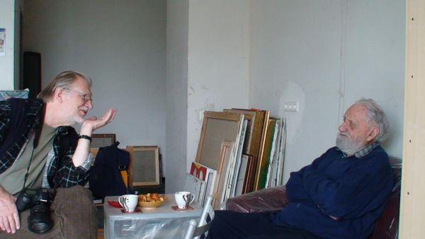 Su dailininku A. Savicku jo dirbtuvėse. 2012 m.