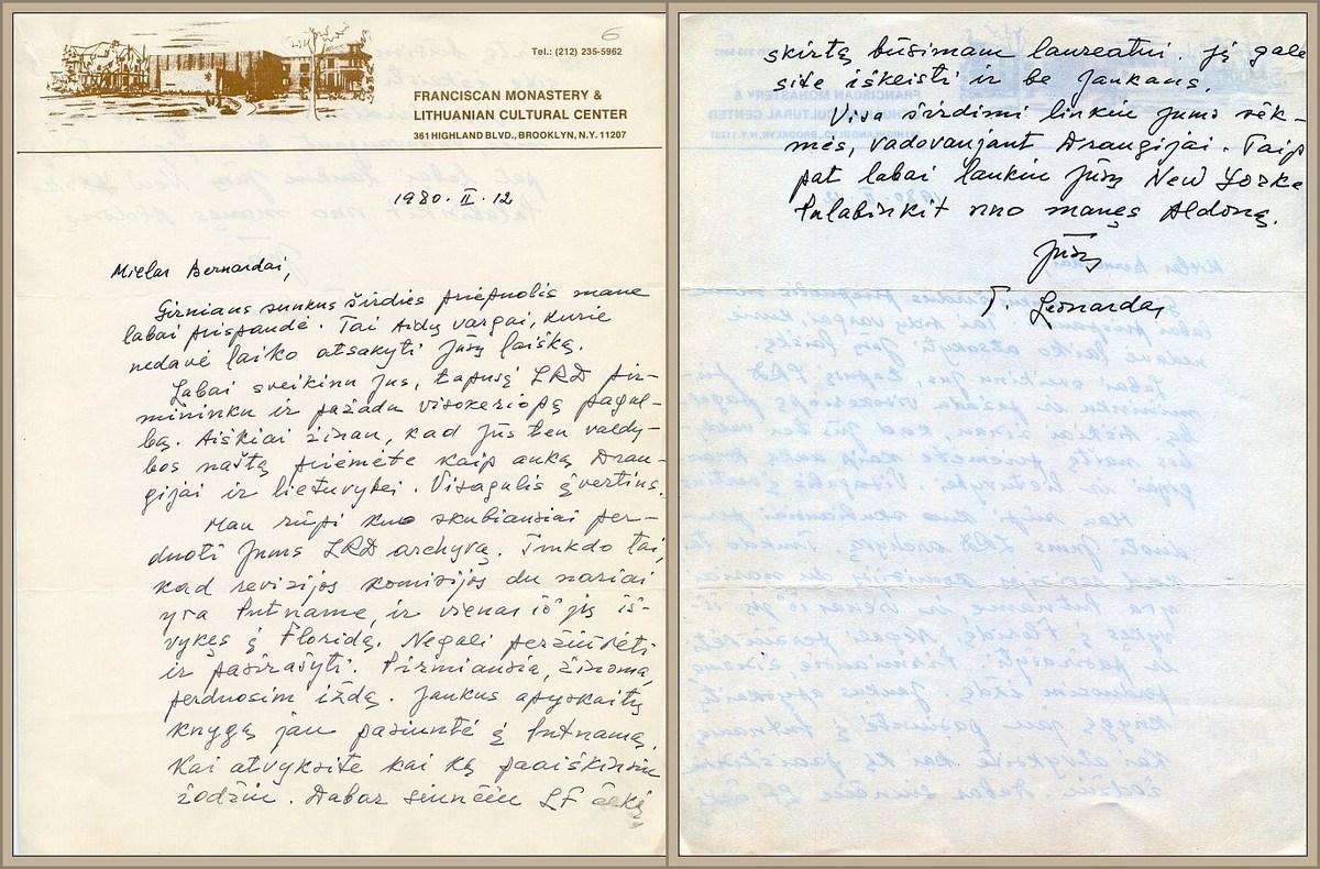 Kun. L. Andriekaus laiškas naujam LRD pirmininkui B. Brazdžioniui.