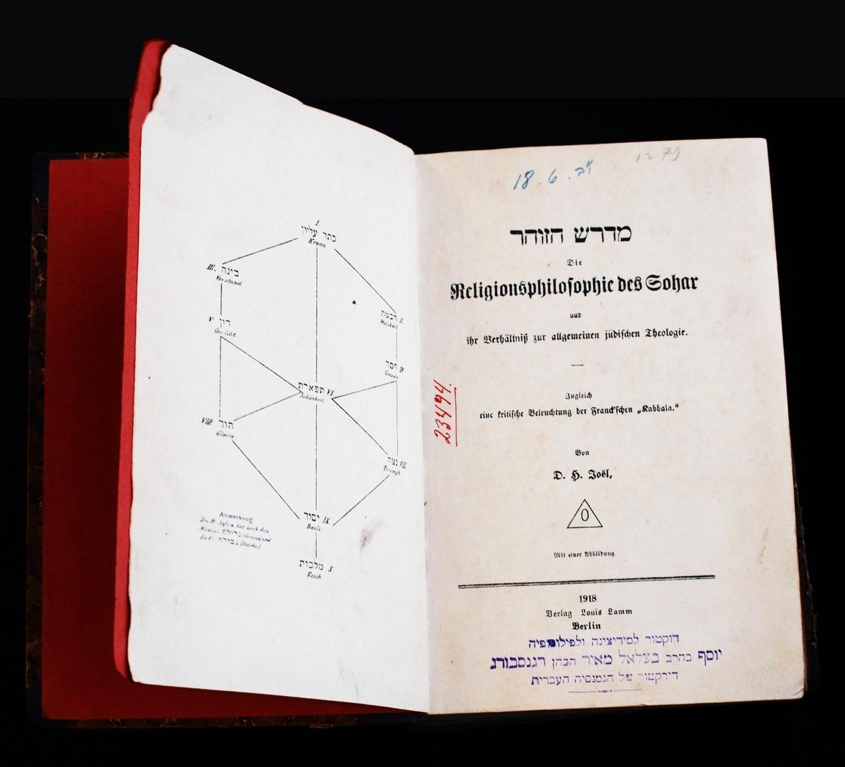 """D. Joël """"Midrash ha-zohar – Die Religionsphilosophie des Sohar"""". Berlynas, Louiso Lammo leidykla, 1918. <br /> Iš gydytojo psichiatro ir pedagogo Juozapo Regensburgo (1879-1930) bibliotekai dovanotų knygų."""