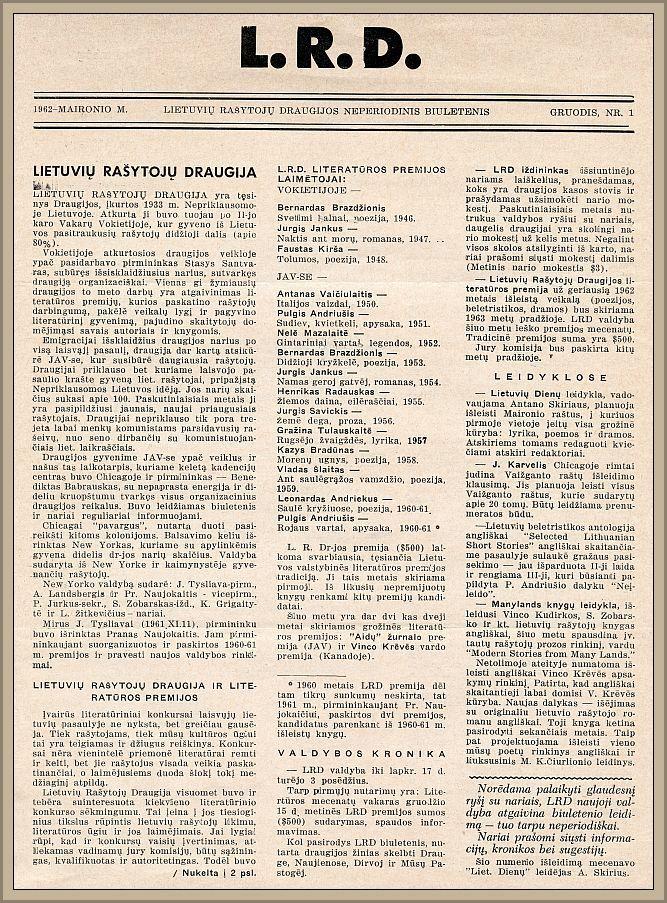 B. Brazdžionio vadovaujamos LRD valdybos atgaivinto biuletenio pirmasis numeris.