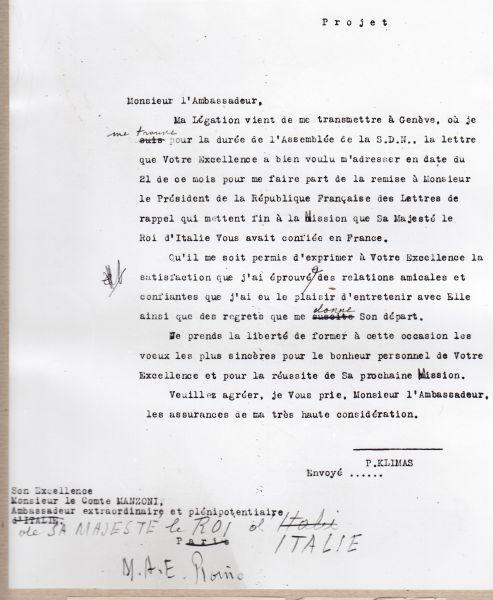 P. Klimo laiškas diplomatui G. Manzoni su linkėjimais naujame darbe. 1932 m.