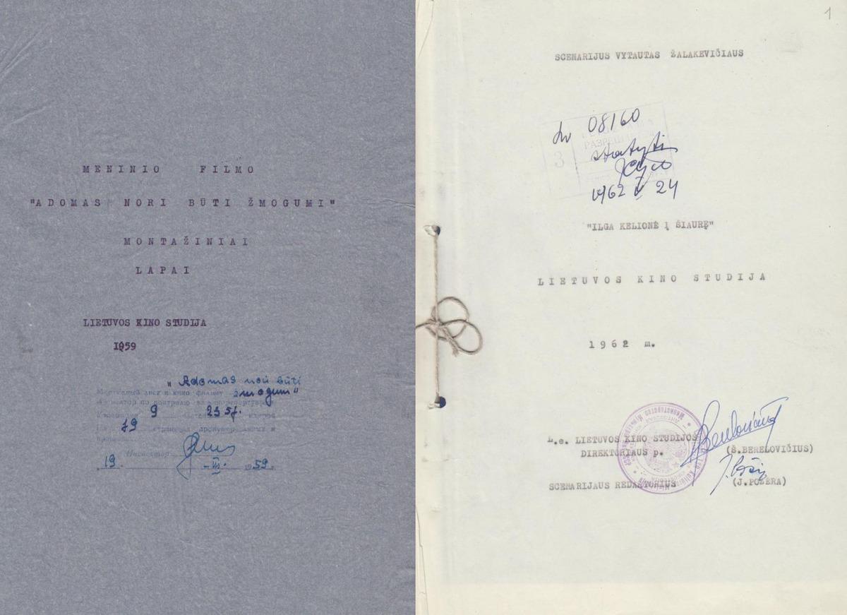 """""""Adomas nori būti žmogumi"""" ir """"Ilga kelionė į šiaurę"""" scenarijai. 1959 m. ir 1962 m. Mašinraštis. Montažinių lapų tituliniai."""