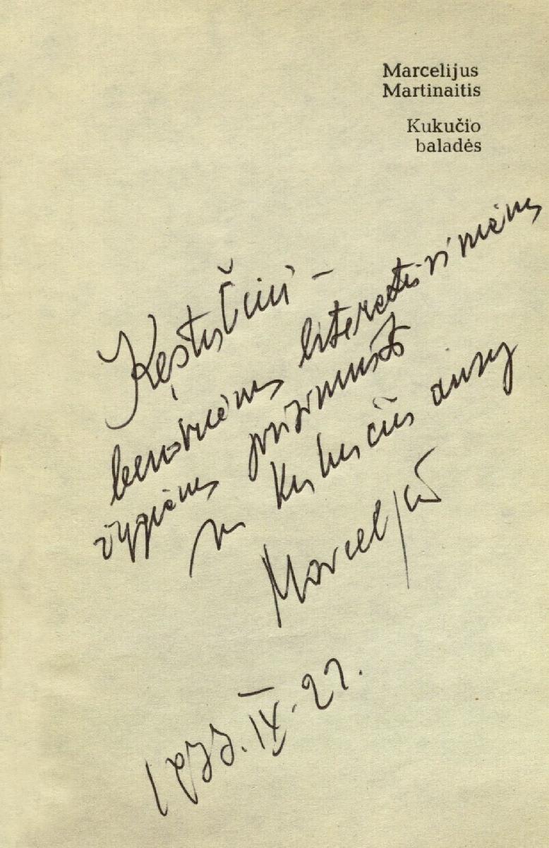 M. Martinaičio dedikacija, 1977