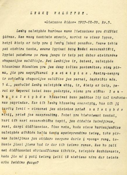 Klimas P. Lenkų valstybė // Lietuvos aidas. 1917, rugsėjo 20, p. 1.