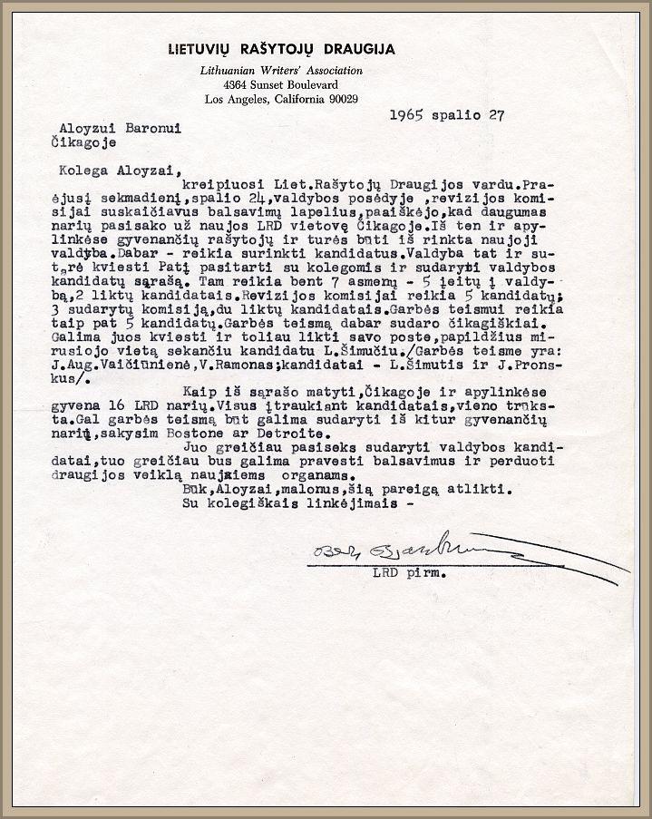 B. Brazdžionio laiškas naujam LRD pirmininkui Aloyzui Baronui, 1965 m. spalio 27 d.