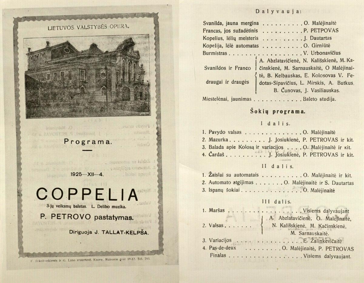 Coppelia : Léo Delibes. 3 veiksmų baletas. [Programa]. 1925 XII 4.