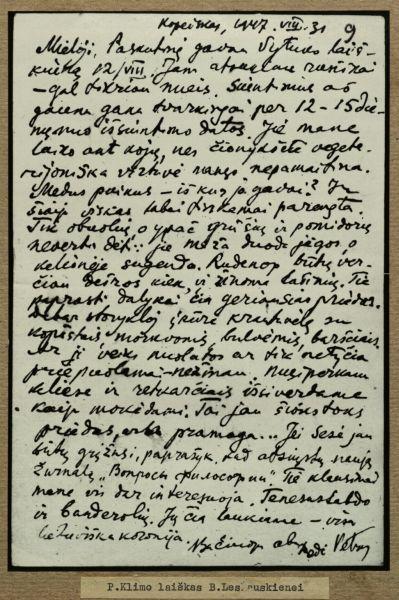 P. Klimo laiškas B. Lesauskienei. 1947 m.