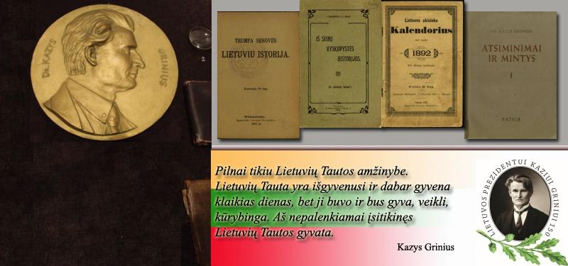 Kazys Grinius – knygų autorius, vertėjas ir redaktorius. Straipsniai, kalbos, kreipimaisi, atsišaukimai, recenzijos.