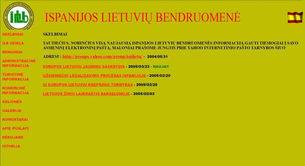 Pirmoji Ispanijos lietuvių bendruomenės interneto svetainė lituanos.com, veikusi 2004–2006 m.